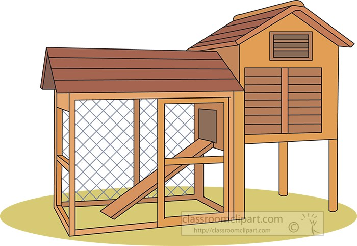Empty Chicken Coop Clipart 091
