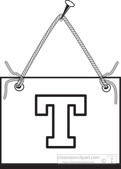 Black White Clipart Letter T Hanging On Board Classroom Clipart