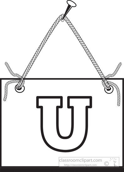 Black White Clipart Letter U Hanging On Board Classroom Clipart