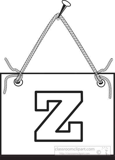 Black White Clipart Letter Z Hanging On Board Classroom Clipart