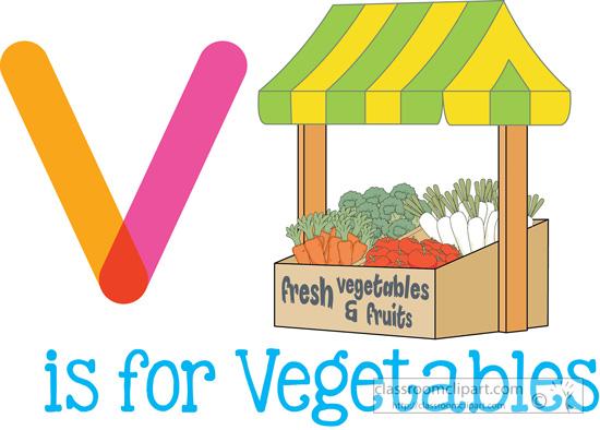 V Is For Vegetables Alphabets Clipart- v-i...