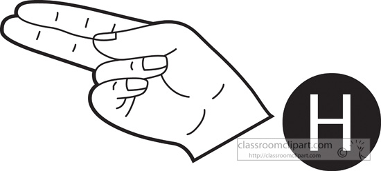 Sign Language Letter H Outline