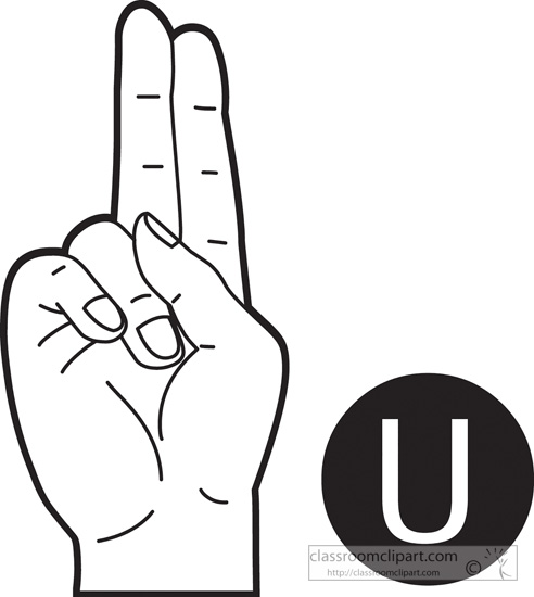 American Sign Language Clipart Sign Language Letter U Outline
