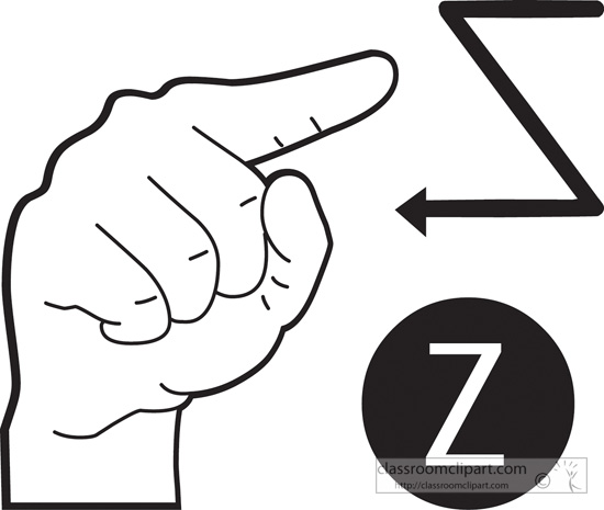 American Sign Language Clipart Sign Language Letter Z Outline
