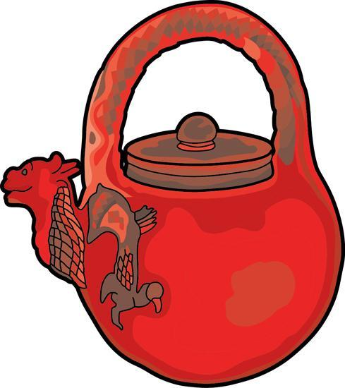 Ancient China : chinese-tea-pot-red-dragon : Classroom Clipart
