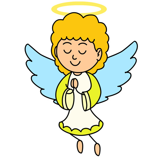 Amazing Angel With Halo Praying Clipart. Size: 62 Kb