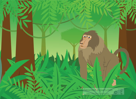 baboon-in-rainforest-surrounded by plants clipart.jpg
