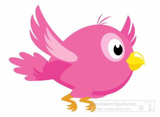 Pink flying bird clip art