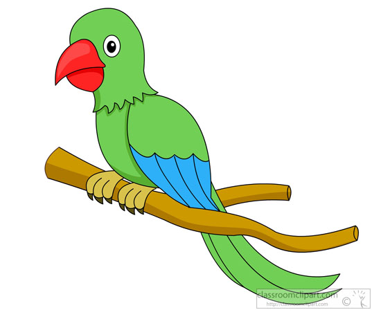 Animal Clipart - Bird Clipart - green-parrot-red-beak-on ...