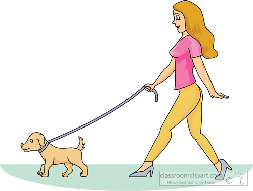 clipart girl walking dog - photo #5