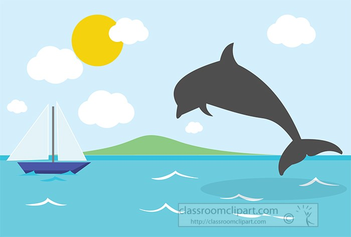 dolphin jumping out of water blue sky clouds sailboat.jpg