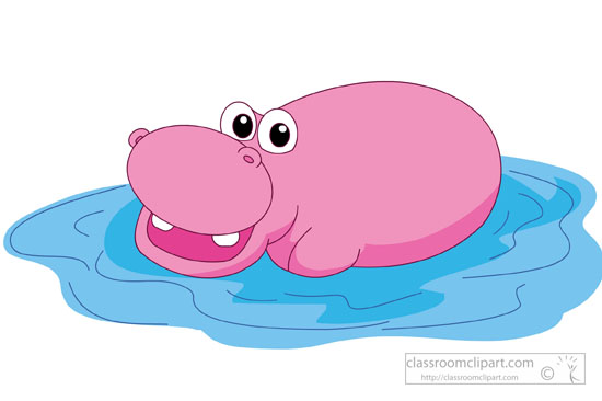 Hippo Clipart : large-pink-hippo-in-water-clipart-581 ...
