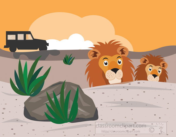 two-lions-hiding-from-safari-jeep-in-africa-clipart-image.jpg