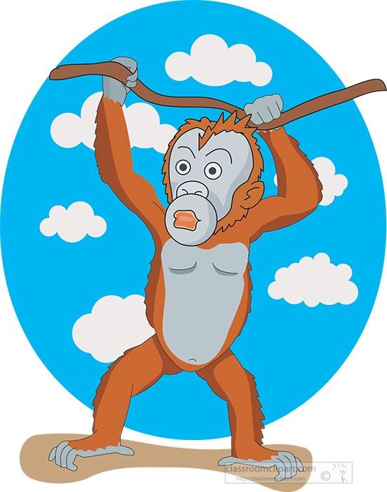 orangutan-standing-on-rock-hanging-from-branch-clipart-image.jpg