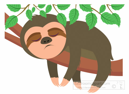 Animal Clipart - sloth-sleeping-on-tree-clipart-6926 ...