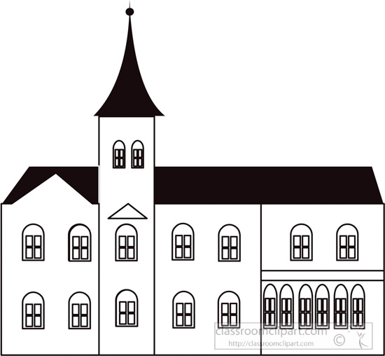 Architecture Clipart Black White Outline Of Old Church