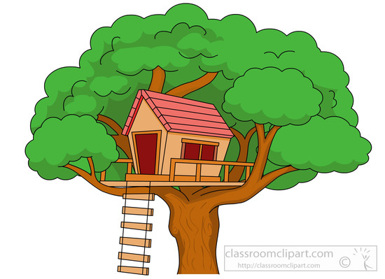 ... treehouse-in-large-tree-with-ladder-clipart-5914 : Classroom Clipart