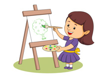 Girl Holding Paint Brush Painting A Tree Clipart Size 106 Kb