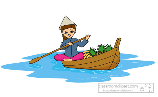 woman-with-conical-hat-rowing-boat-in- lake-vIetnam-clipart.jpg