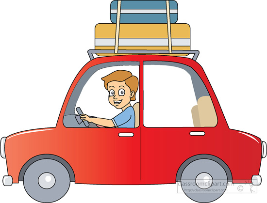 Travel By Car Suitcase On Roof Clipart