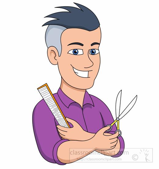 Beauty Cosmetics : barber-holding-scissors-comb-clipart ...