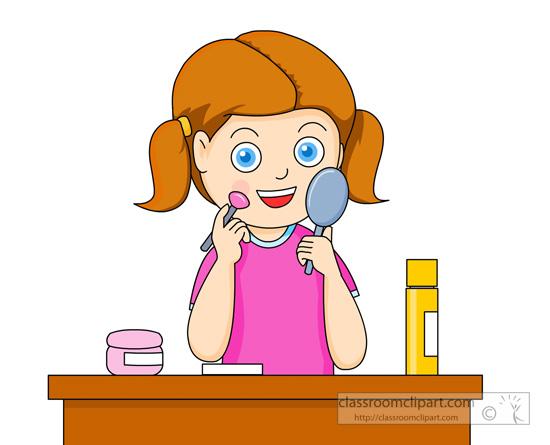 Put Away Clothes En Espanol ~ Beauty cosmetics clipart girl placing makeup blush on her