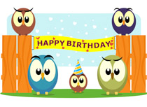fun looking owls with birthday banner clipart size 100 kb