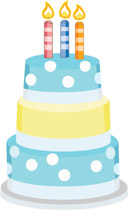 Three Layered Blue Yellow Birthday Cake With Candles Clipart Size 49 Kb