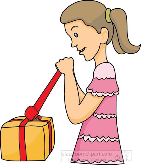 Birthday : Girl-opening-birthday-gift-3 : Classroom Clipart