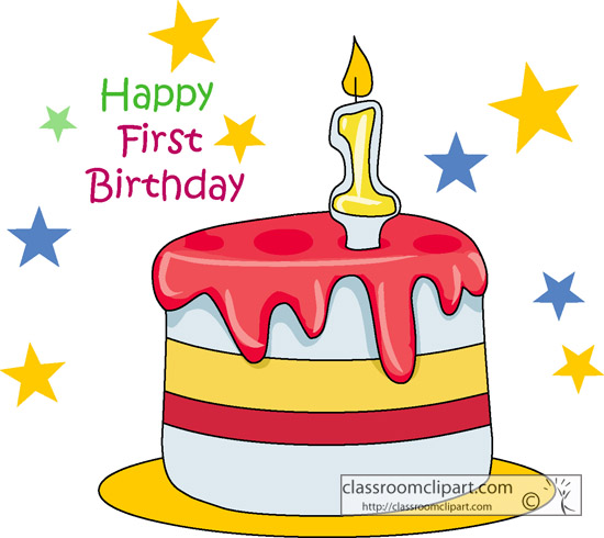 Birthday : happy_first_birthday_cake_04 : Classroom Clipart