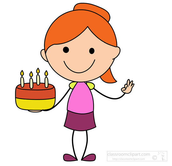 birthday clipart stick figure girl with cake classroom Funny Birthday Clip Art Happy Birthday Glitter Clip Art