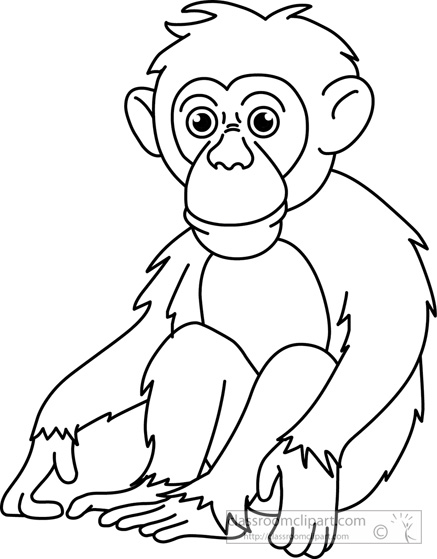 chimpanzee-black-white-outline-clipart-910.jpg