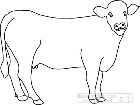 Animals : cow_in_pasture_outline : Classroom Clipart