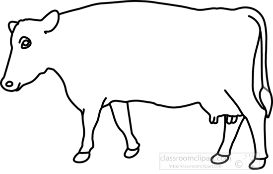 Animals : cow_on_grass_1_outline : Classroom Clipart