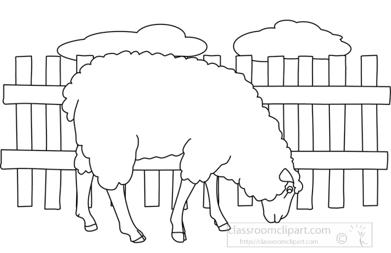 Animals Black and White Outline Clipart - eating_sheep ...