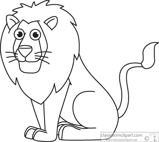 Animals Black and White Outline Clipart - lion-sitting ...