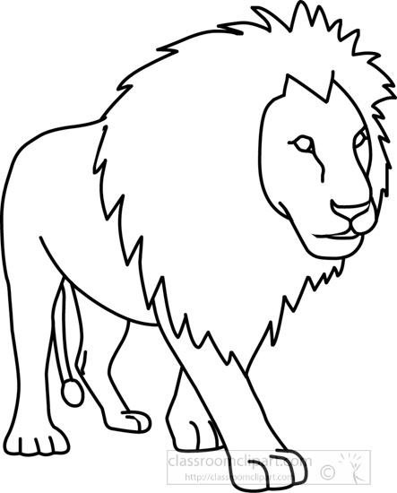 Animals : lion_01A_outline : Classroom Clipart