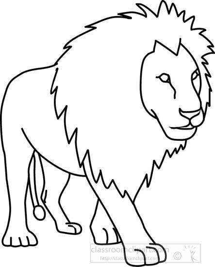 Animals Clipart- lion_01A_outline - Classroom Clipart