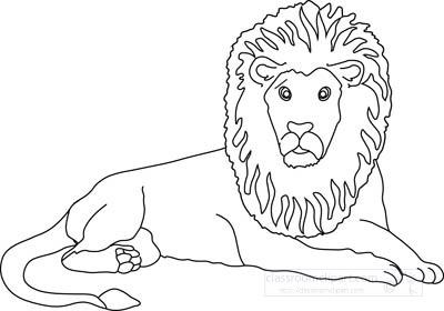 Animals Clipart- lion_212_21_outline - Classroom Clipart