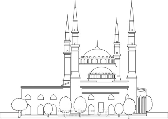 mohammad-al-amin-mosque-lebanon-black-white-outline-clipart.jpg
