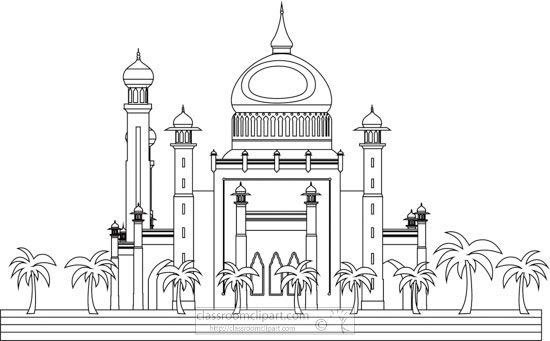 sultan-omar-ali-saifuddin-mosque-brunei-black-white-outline-clipart.jpg