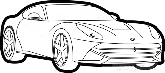 Cars Black and White Outline Clipart , ferrari,f12