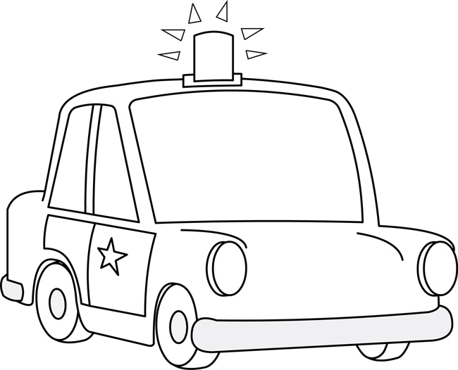 cars clipart- police car cartoon 06 outline