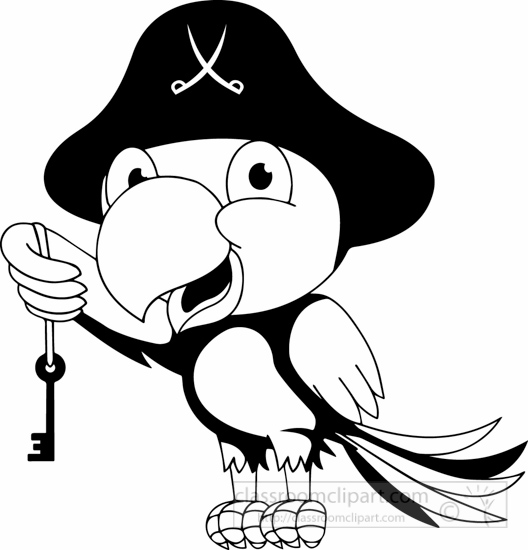 Cartoons Clipart- black-white-parrot-with-key-of-tresure ...
