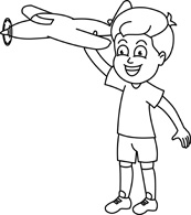 Outline Boy playing with a toy Two Children Reading Clipart Black And White