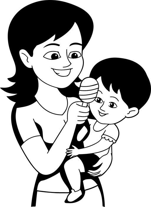 Free Black And White Children Outline Clipart