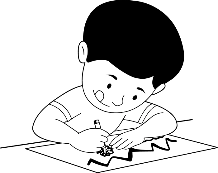 Children Clipart- black-white-boy-drawing-clipart ...