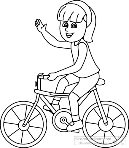 Children Clipart- girl_on_bicycle_outline - Classroom Clipart