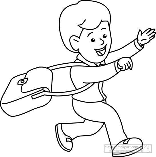 Children Clipart- student-running-black-white-outline ...