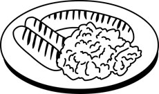 Black and White Food Outline Clipart and GraphicsMeal Clipart Black And White